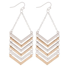Load image into Gallery viewer, Two Tone Metal Chevron Drop Earrings - Harp & Sole Boutique