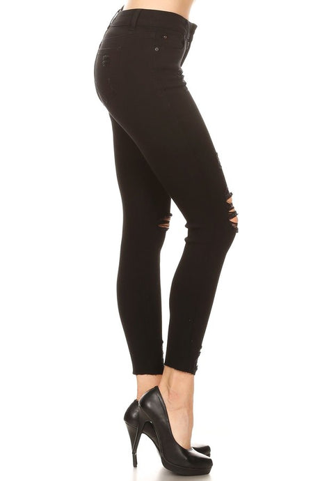 Distressed Mid Rise Black Skinny Jeans - Harp & Sole Boutique