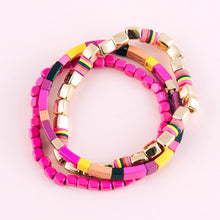 Load image into Gallery viewer, Set of 3 Block Beaded Stretch Bracelets - Harp & Sole Boutique