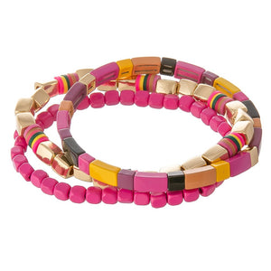 Set of 3 Block Beaded Stretch Bracelets - Harp & Sole Boutique