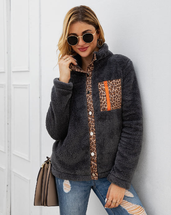 Soft Sherpa Fleece Button Up with Leopard Accents