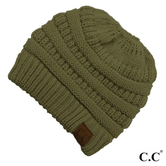 Olive Messy Bun Beanie - Harp & Sole Boutique