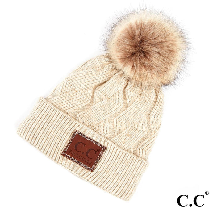 Beige Geometric Cable Knit Pom Pom Hat - Harp & Sole Boutique