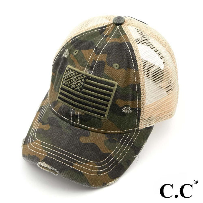 USA Flag Distressed Camo Ponytail Trucker Hat - Harp & Sole Boutique