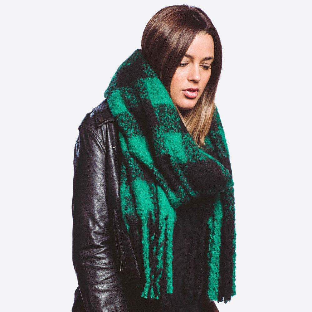 Oversized Green & Black Buffalo Check Scarf with Fringe - Harp & Sole Boutique