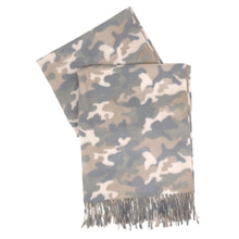 Load image into Gallery viewer, Camo Scarf with Fringe - Harp & Sole Boutique