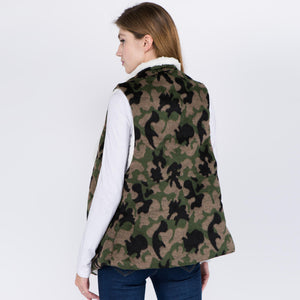 Sherpa Lined Camouflage Vest with Pockets - Harp & Sole Boutique