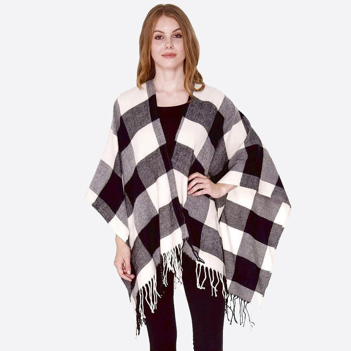 Black & White Buffalo Check Ruana with Fringe