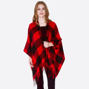 Red & Black Buffalo Check Ruana with Fringe - Harp & Sole Boutique