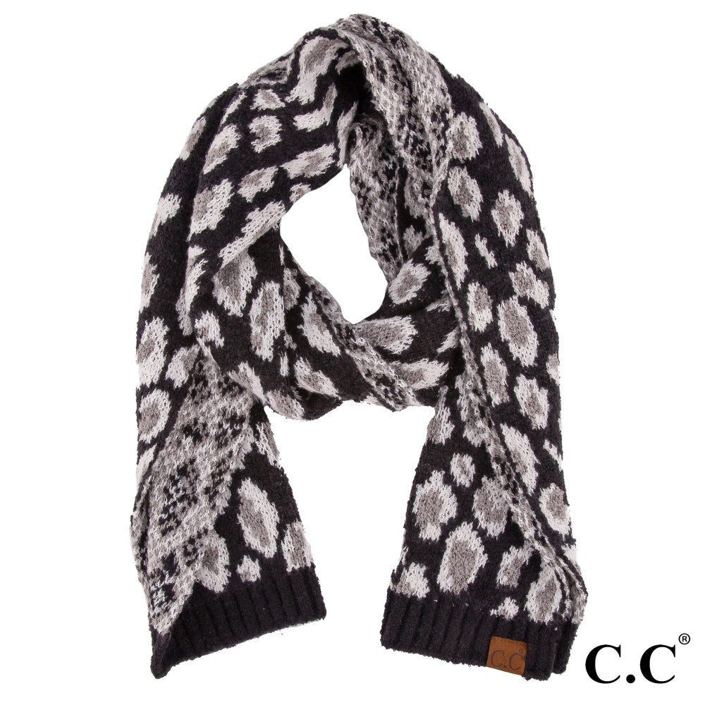 Leopard Jacquard Knit Scarf - Harp & Sole Boutique