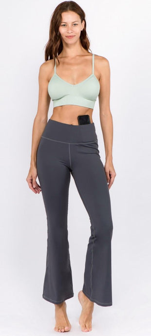 Charcoal High Rise Flare Yoga Pants - Harp & Sole Boutique
