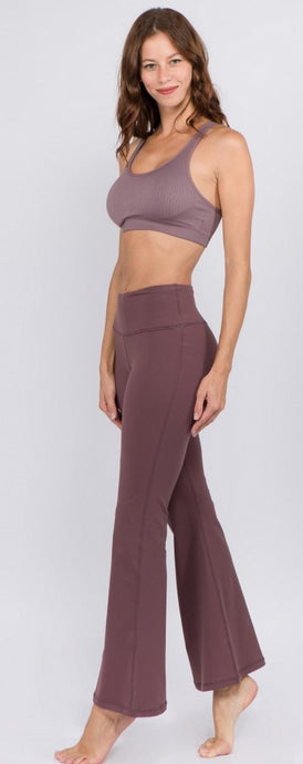 Smoky Mauve High Rise Flare Yoga Pants - Harp & Sole Boutique