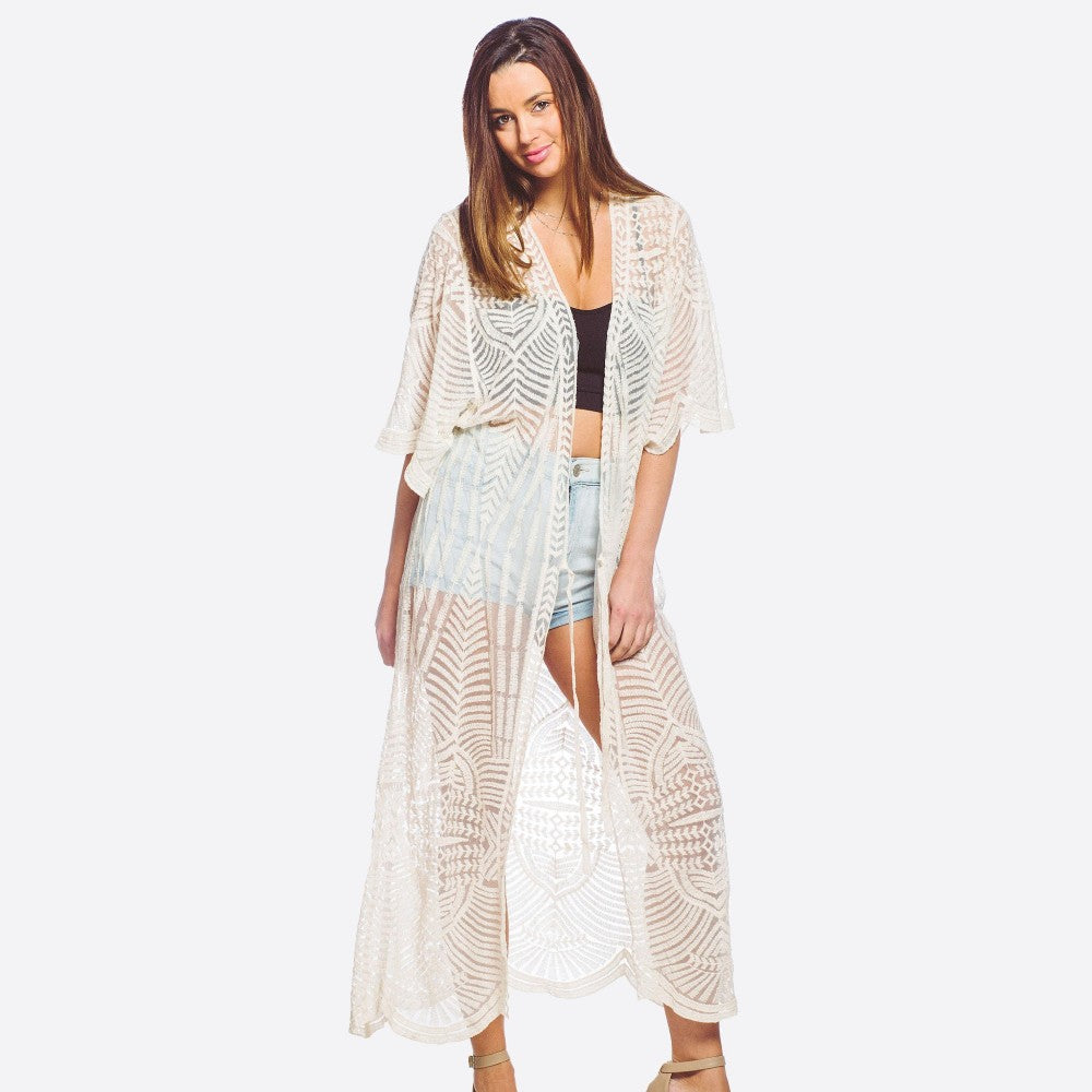 Embroidered Mesh Maxi Kimono with Tie - Harp & Sole Boutique
