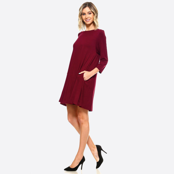 Burgundy Lightweight Jersey Knit Dress with pockets - Harp & Sole Boutique