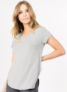 Heather Gray Slashed Back Tee - Harp & Sole Boutique