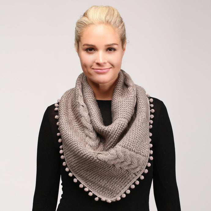 Cable Knit Infinity Scarf with Pom Pom Trim - Harp & Sole Boutique