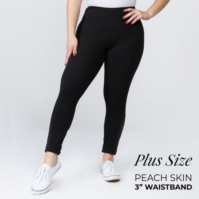 Plus Size Black Peach Skin Leggings with 3