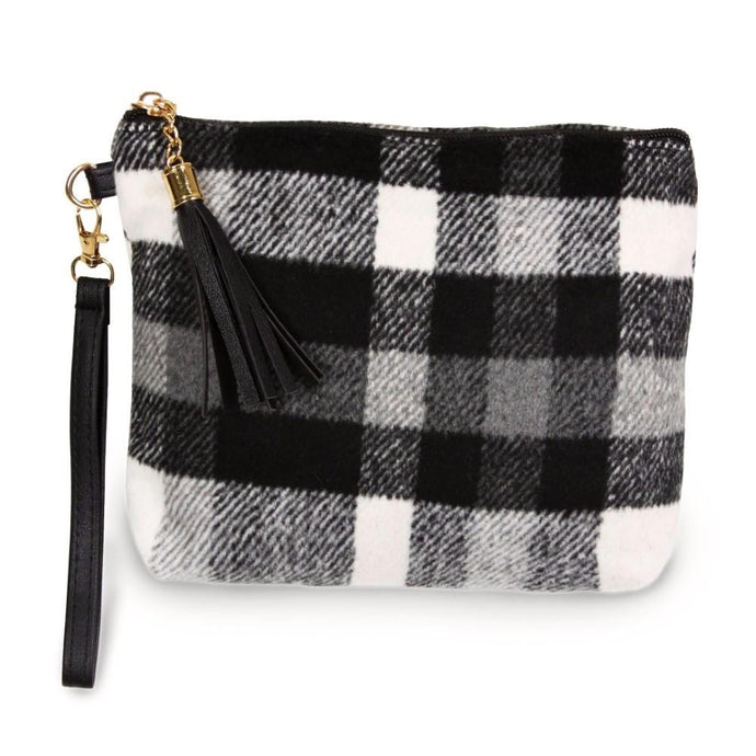 Black & White Plaid Pouch Wristlet
