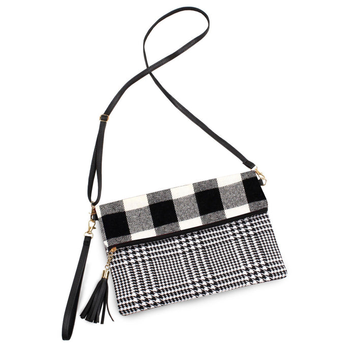 Black & White Plaid Fold-Over Crossbody Bag/ Wristlet