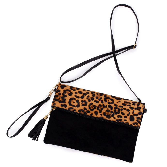Leopard Print Fold-Over Crossbody Bag/ Wristlet