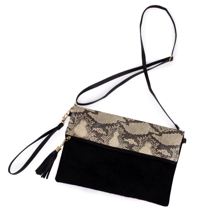 Snakeskin Print Fold-Over Crossbody Bag/ Wristlet