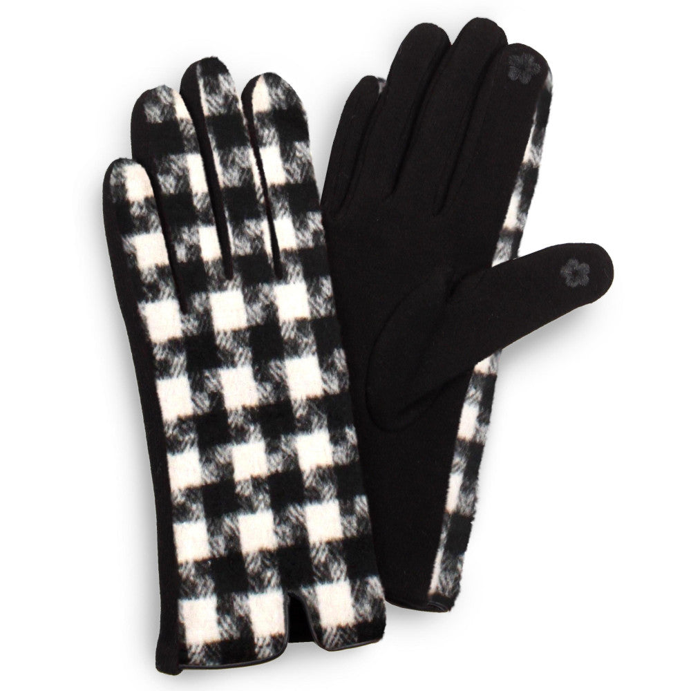 Black & White Houndstooth Smart Touch Gloves