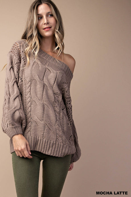 Mocha Latte Cable Knit Sweater with Bishop Sleeves - Harp & Sole Boutique