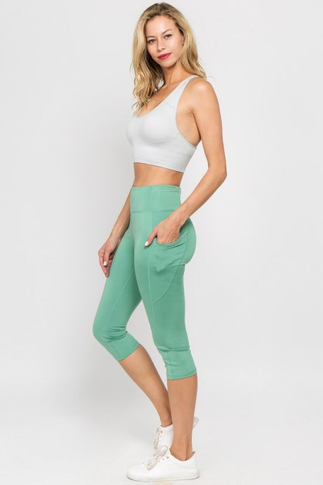 Dusty Jade High Waist Workout Capri Leggings with Pockets - Harp & Sole Boutique