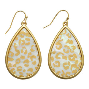 Abalone Leopard Print Iridescent Teardrop Earrings