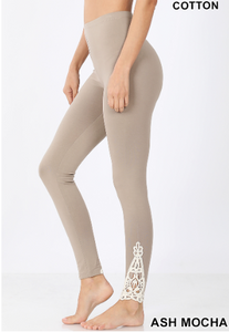 Ash Mocha Crochet Lace Ankle Leggings - Harp & Sole Boutique