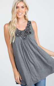 Beaded Lurex Neck Tunic Tank Top - Harp & Sole Boutique