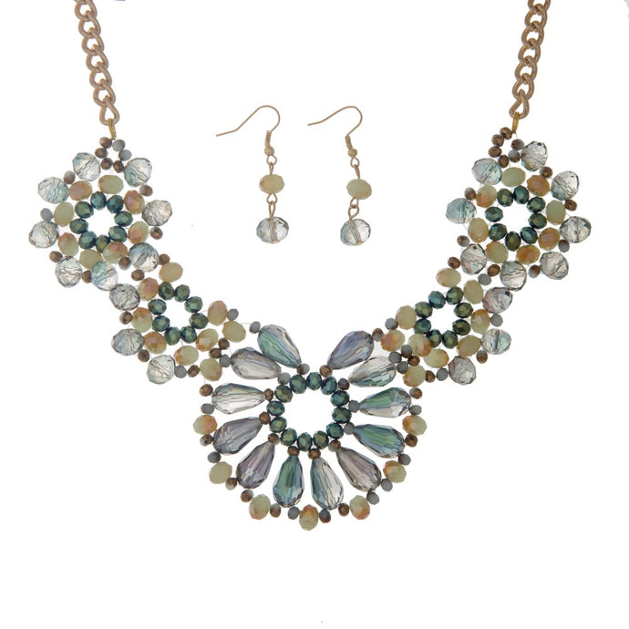Beaded Statement Necklace & Earring Set