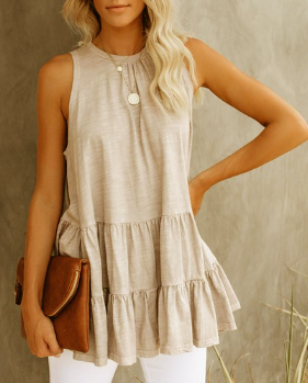 Beige Ruffle Hem Sleeveless Top - Harp & Sole Boutique