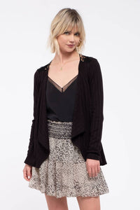 Black Crochet-Back Knit Cardigan