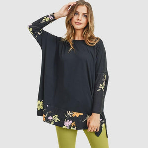 Black Floral Oversized Dolman Sleeve Top