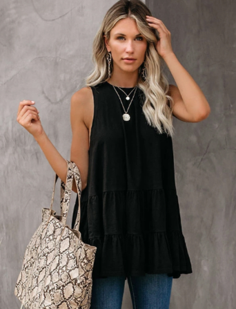 Black Ruffle Hem Sleeveless Top