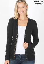 Load image into Gallery viewer, Black Snap Button Cardigan - Harp & Sole Boutique