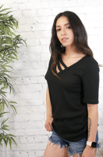 Black Waffle Cutout Short Sleeve Top