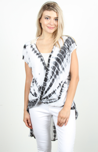 Black & White Tie Dye Crochet Back Top - Harp & Sole Boutique