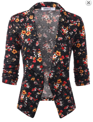 Black with Small Flowers 3/4 Sleeve Open Front Blazer - Harp & Sole Boutique