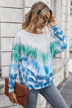 Load image into Gallery viewer, Blue Green Tie Dye Light Weight Sweatshirt