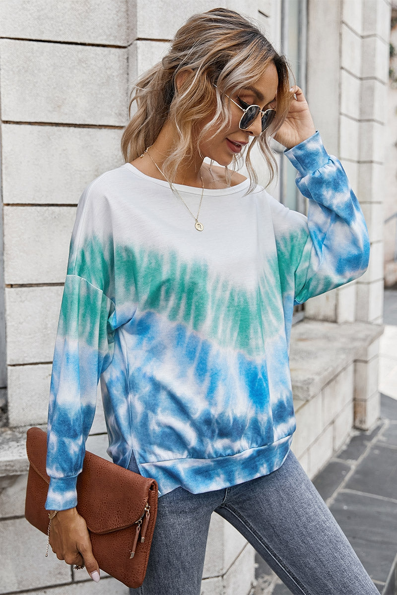 Blue Green Tie Dye Light Weight Sweatshirt