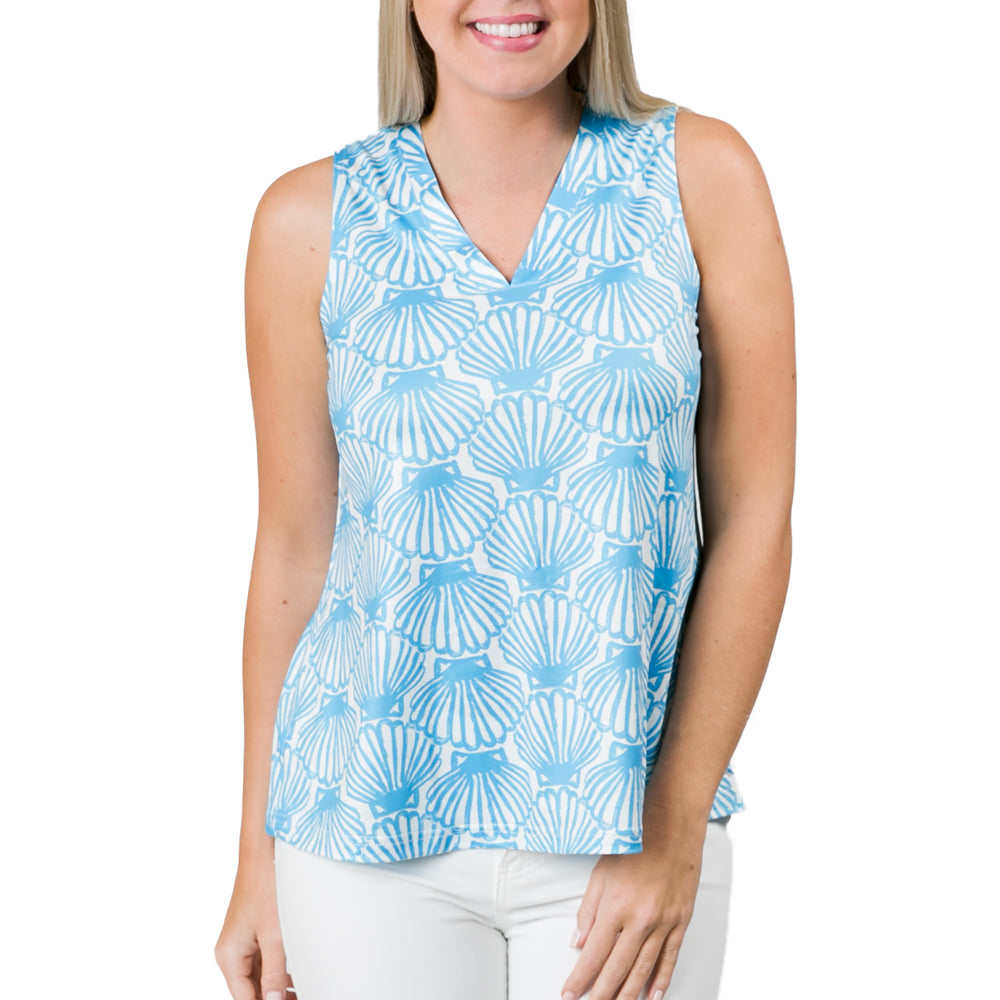 Blue Scallop Shells Amy Top