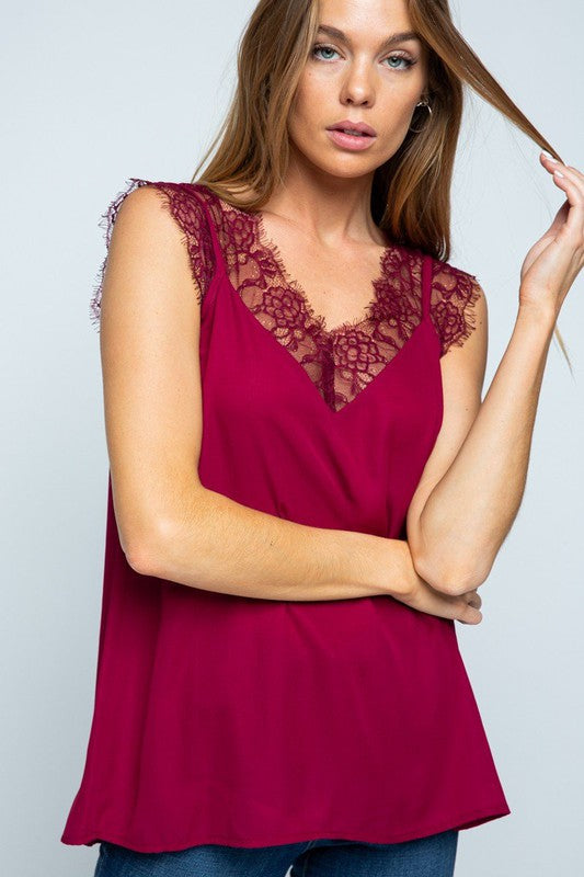 Burgundy Lace Cami