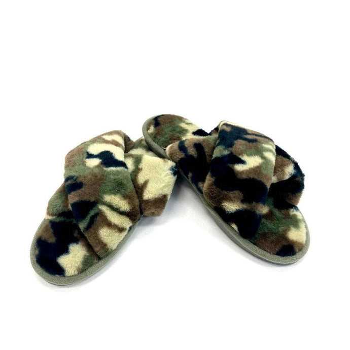 Camo Faux Fur Plush Criss Cross Slippers