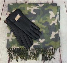 Load image into Gallery viewer, Camo Scarf and Faux Leather Gloves Gift Set