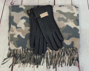 Camo Scarf and Faux Leather Gloves Gift Set
