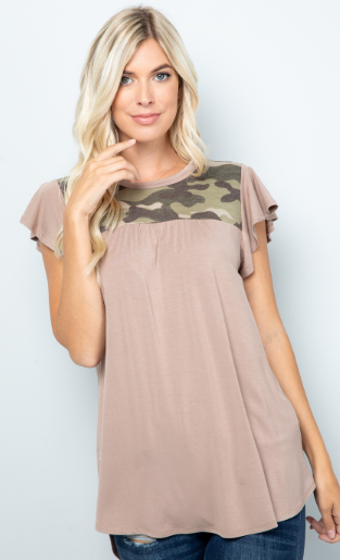 Camo & Taupe Flutter-Sleeve Top - Harp & Sole Boutique