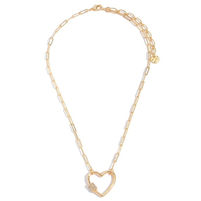 Chain Link Heart Carabiner Necklace in Gold with Rhinestone Accents