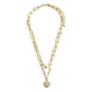 Paper Chain Link Layered Druzy Heart Necklace in Gold